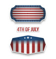 fourth of july national flag labels set vector image