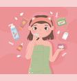 girl skincare products vector image vector image