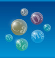glowing spheres with useful microelements on blue vector image vector image