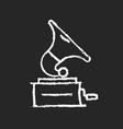 gramophone chalk white icon on dark background vector image