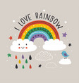 gray poster with colorful rainbowcloudsun vector image vector image