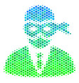halftone blue-green masked thief icon vector image vector image