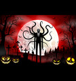 halloween background with zombie and pumpkins vector image vector image