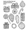 hand drawn outline set new year vector image vector image