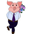 isolated emoji character cartoon pig embarrassed vector image