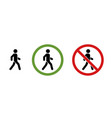 man walk and dont walk icon set vector image vector image