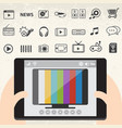mobile smart tv and entertainment icons set vector image vector image