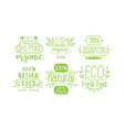 natural fresh food green labels set gmo free vector image vector image