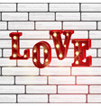 neon 3d word love with lights vector image