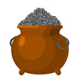pot with etherium treasures of cryptocurrency lot vector image vector image