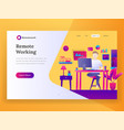 remote working landing page vector image