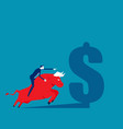 riding on back an bull business stock vector image vector image