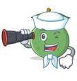 sailor with binocular guava mascot cartoon style vector image vector image