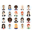 set diverse round avatars on white background vector image vector image