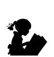silhouette of girl reading books vector image vector image