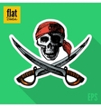 Sketch style hand drawn pirate skull flat icon vector image vector image