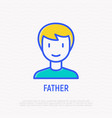 smiling man thin line icon vector image vector image
