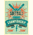 softball championship vintage grunge style poster vector image