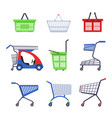 supermarket cart or trolley and shopping basket vector image