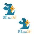 template logo design cartoon dog and cat vector image vector image