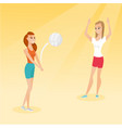 two caucasian women playing beach volleyball vector image vector image