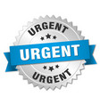 urgent 3d silver badge with blue ribbon vector image vector image