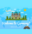 welcome to germany poster with famous attraction vector image