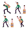 young man chained to carrying holding bottle of vector image vector image