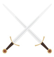 Crossed templar swords vector image