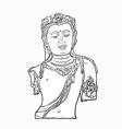 Drawing bust of Bodhisattva Avalokiteshvara vector image