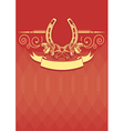Horseshoe on red christmas background with holly vector image
