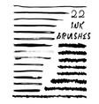22 texture ink brushes vector image