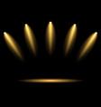 5 golden spotlights on dark background vector image vector image