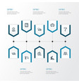 architecture outline icons set collection of wall vector image vector image