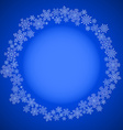 Blue christmas frame with snowflakes circle vector image vector image