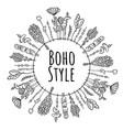 boho style wreath frame ornament vector image
