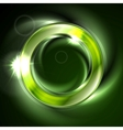Bright glow green iridescent round logo vector image vector image