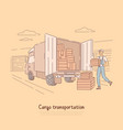cargo transportation service delivery boy vector image