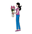 cartoon woman with bouquet flower vector image vector image