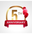 celebrating 5th years anniversary golden label vector image vector image