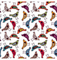 colorful bird hand drawn pattern background vector image