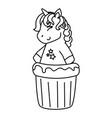 cupcake head cute unicorn vector image vector image
