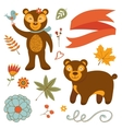Cute bears colorful set with flowers leaves and vector image vector image