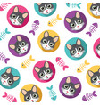 cute cat pattern vector image vector image