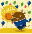 cute little bull in school uniform playing vector image