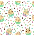 Cute seamless frozen yogurt pattern Sweet cold vector image