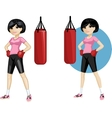 Cute young Asian woman boxer vector image vector image
