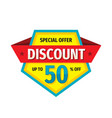 discount up to 50 percent off - tag badge vector image vector image