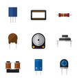 flat icon device set of mainframe transistor vector image vector image