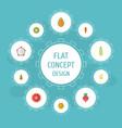 flat icons orange turnip exotic dessert and vector image vector image